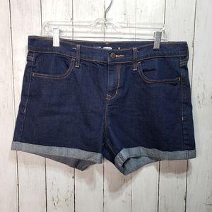 Old Navy Cuffed Dark Wash Denim Shorts Size 12.
